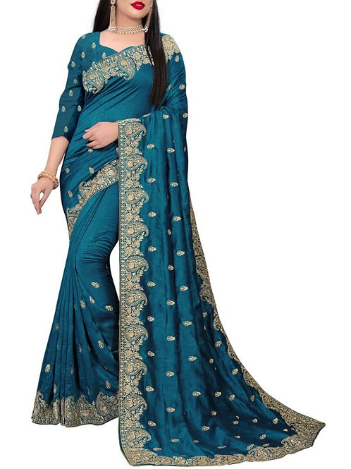 Awesome Teal Blue Best Online Saree Shopping Sites