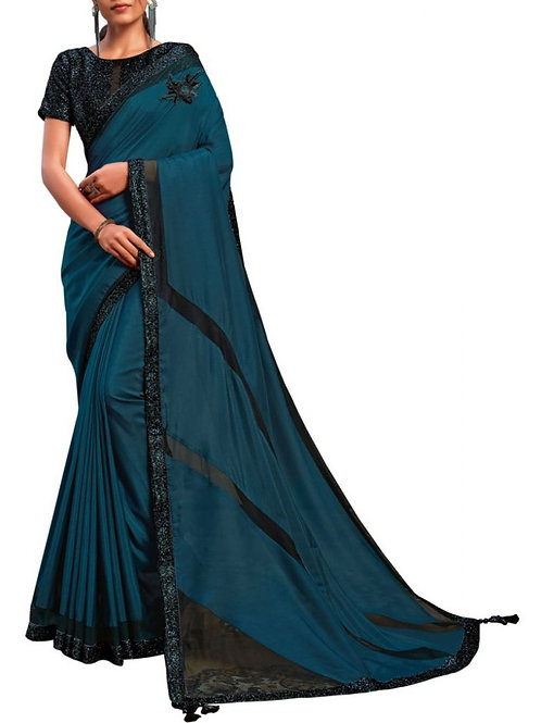 Inviting Teal Blue Party Wear Sarees Collection