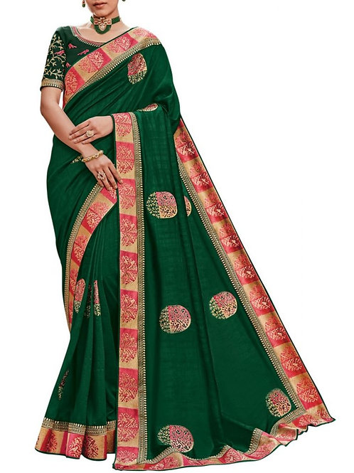 Alluring Green Bollywood Designer Party Wear Sarees