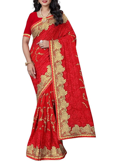 Gratifying Red Color Designer Sarees Online Shopping With Price