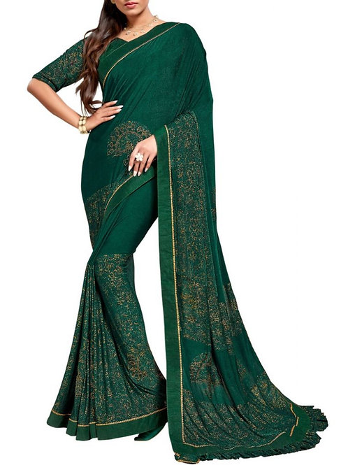 Enticing Forest Green South Indian Silk Sarees