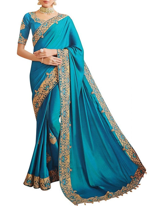 Amazing Turquoise South Indian Saree
