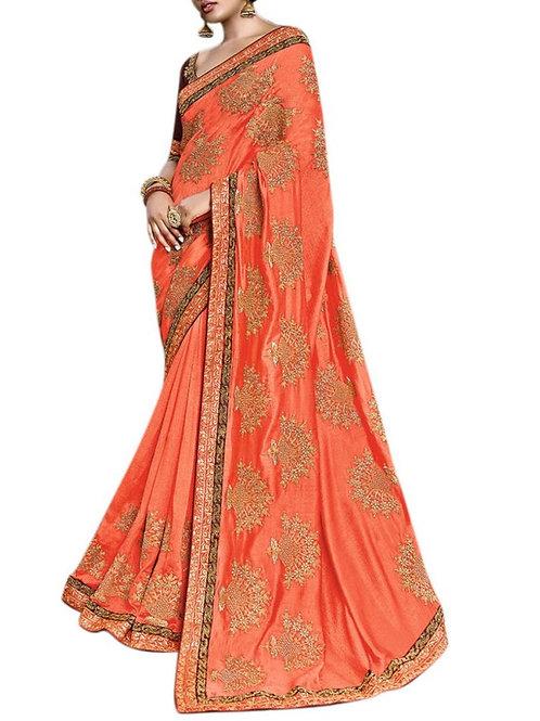 Impressive Orange New Saree Collection