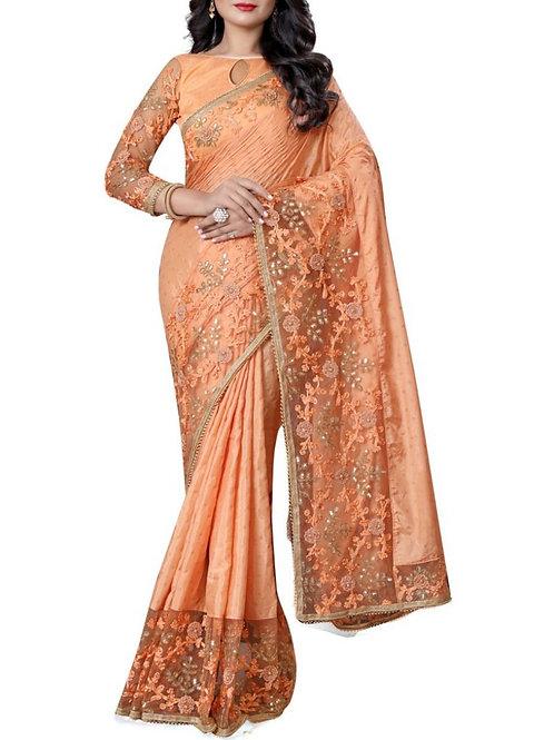 Beautiful Orange South Indian Saree