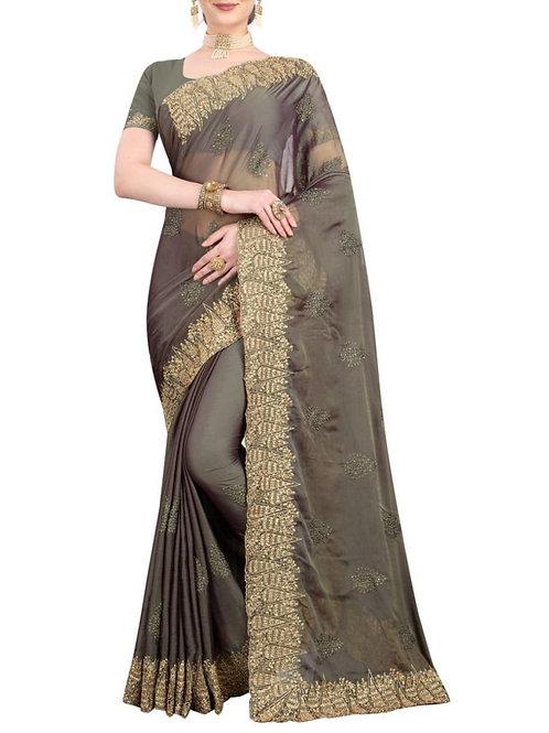 Impressive Grey Indian Saree