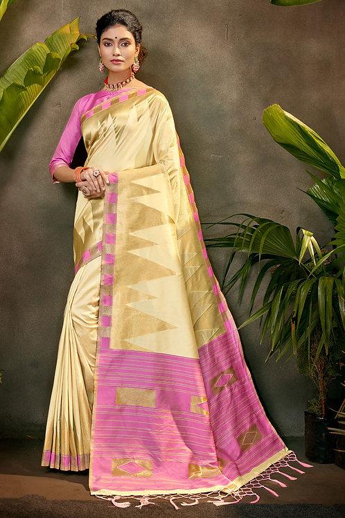 Fashion Designer Cream colour Silk Saree