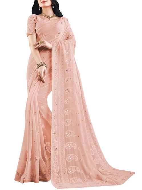 Beautiful Peach Online Saree Shopping India