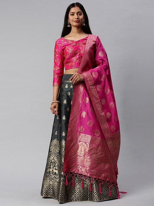 Pink Color Banarasi Silk Wedding Lehenga Choli
