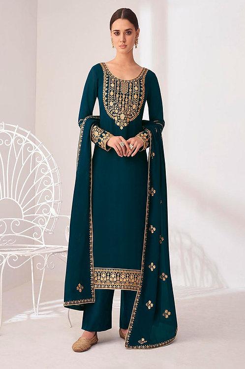 Graceful Real Georgette Work Teal Salwar Suit