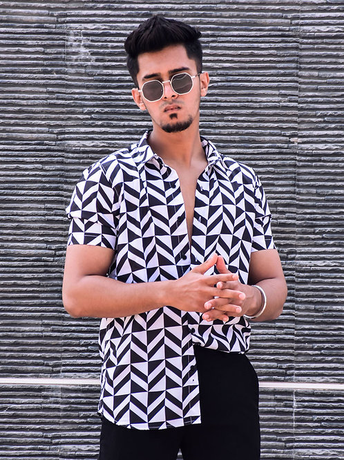 Soft Cotton Adorable Buy Cool Black And White Box Stripe Short Sleeve Shirt