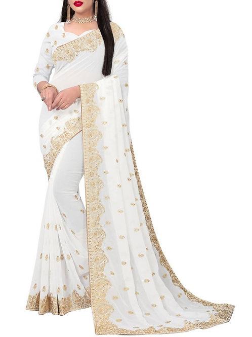 Awe-Inspiring White New Saree