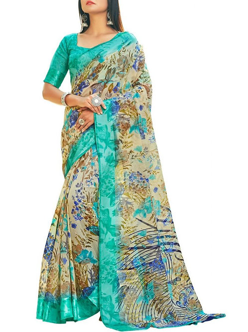 Dazzling Off White Color Traditional Sarees
