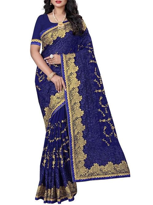 Heavenly Blue Color Latest Sarees Online