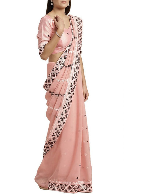 Beautiful Peach Georgette Sarees Online Shopping