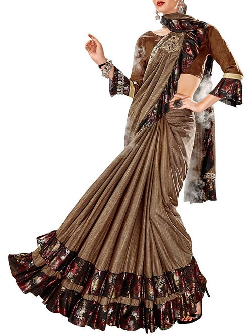 Cocktail Party Wear Copper Gold Saree
