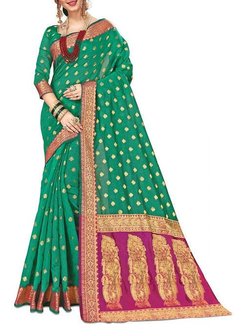 Inviting Green Color Fancy Sarees Online