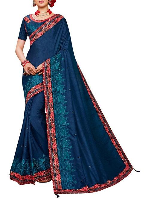 Fabulous Navy Blue Indian Saree Blouse