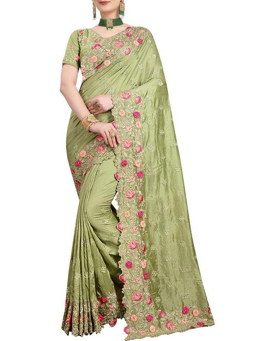 Presentable Pista Designer Sarees With Price