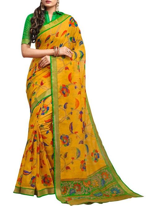 Pleasant Yellow Indian Saree