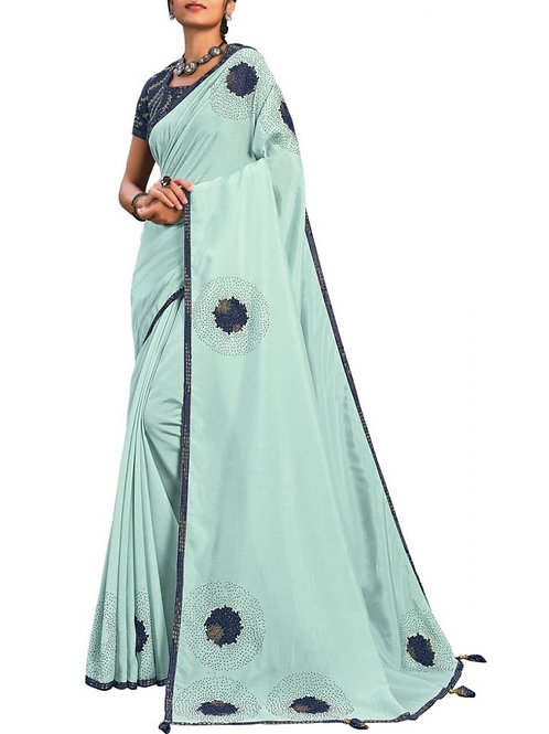 Attractive Light Blue Online Saree Shopping