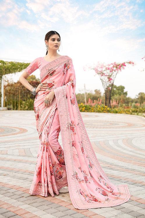 Baby Pink Satin Silk Digital Printed Saree