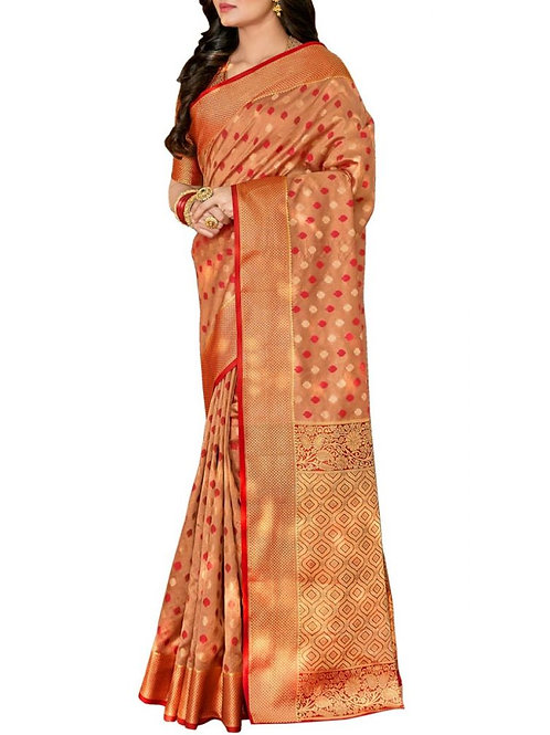 Breathtaking Beige Color Traditional Saree Online Shopping