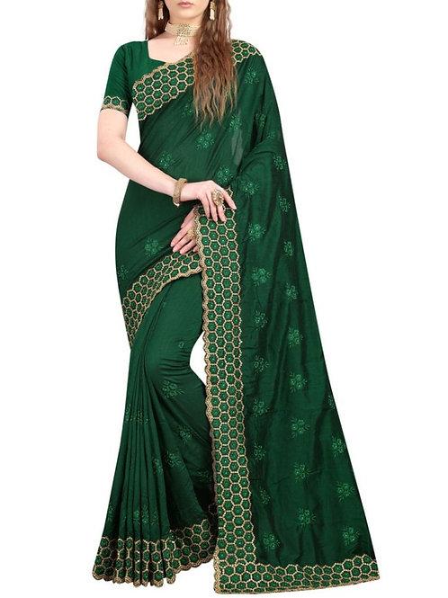 Breathtaking Dark Green Latest Party Wear Sarees