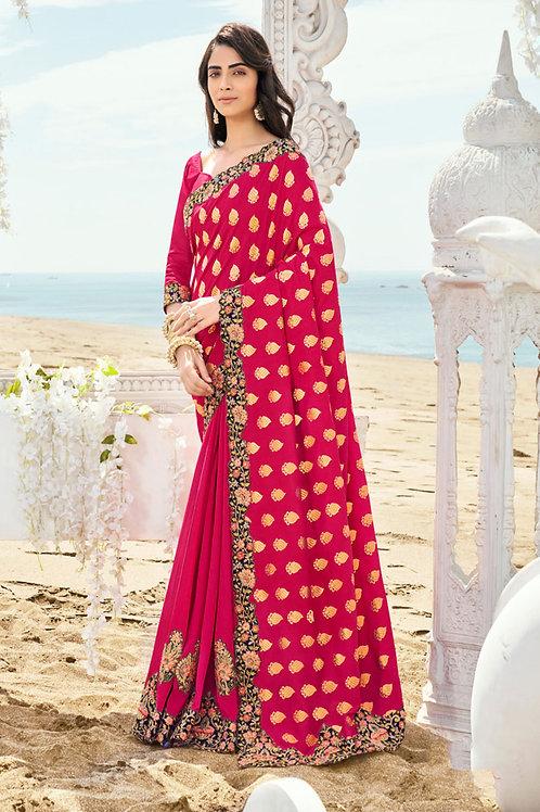 Beautiful Pink Color Designer Banarasi silk saree