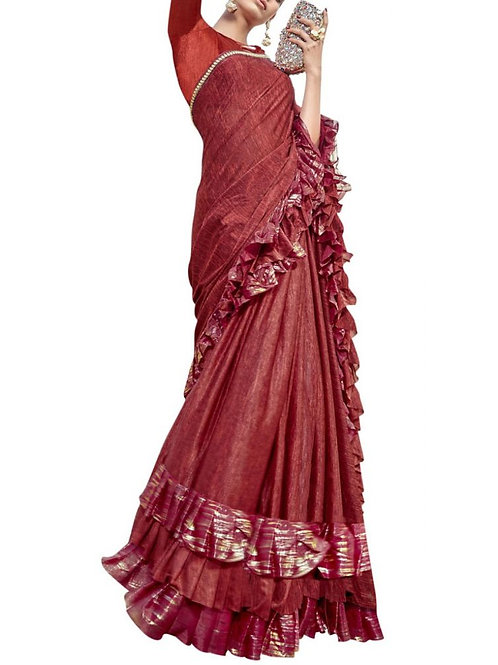 Beautiful Maroon Color Party Wear Saree