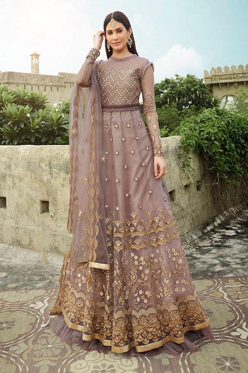 Light Purple Embroidery Net Partywear Gown