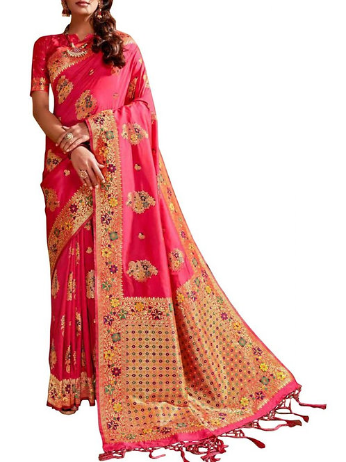 Charming Pink Latest Party Wear Sarees With Price