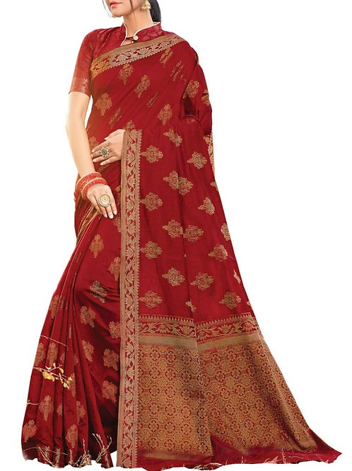 Confounding Maroon Color Online Saree Booking
