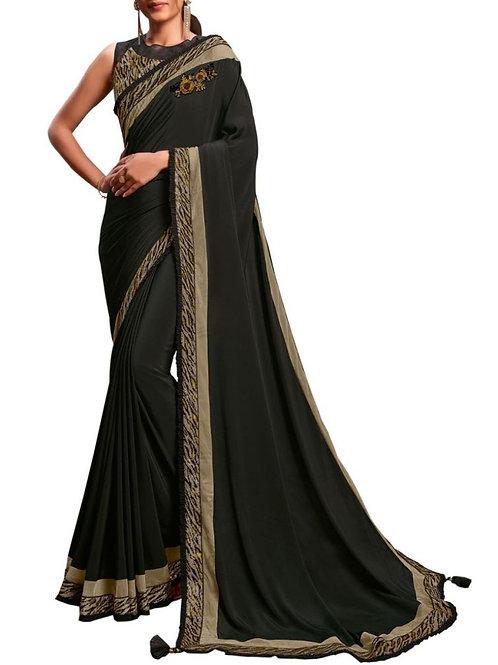 Majestic Black Latest Fancy Sarees