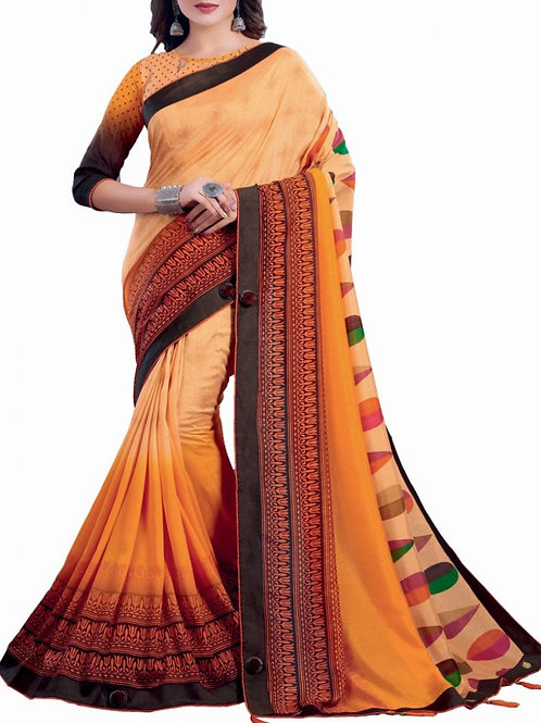 Comely Cream And Yellow Color Designer Saree