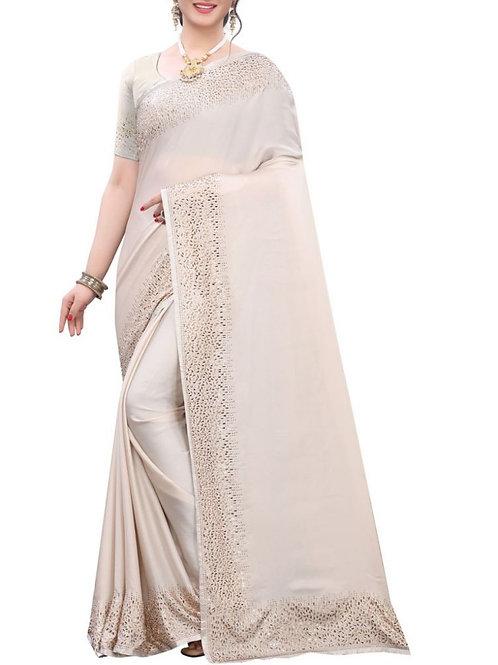 Elegant White Simple Saree