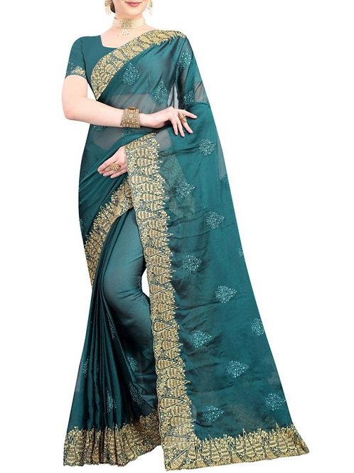 Captivating Teal Blue Designer Saree