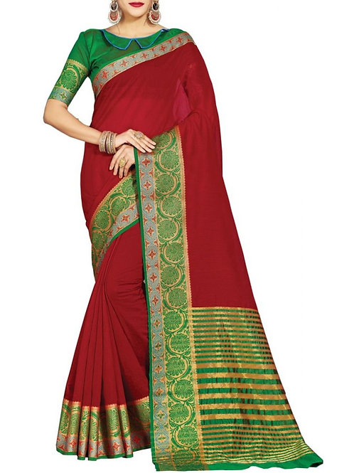 Pleasing Maroon Color Branded Sarees Online Shopping