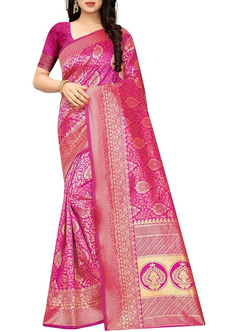 Pleasing Rani Pink Beautiful Saree
