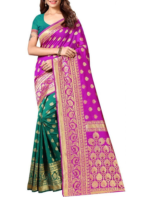 Pleasurable Pink And Green Latest Saree Collection