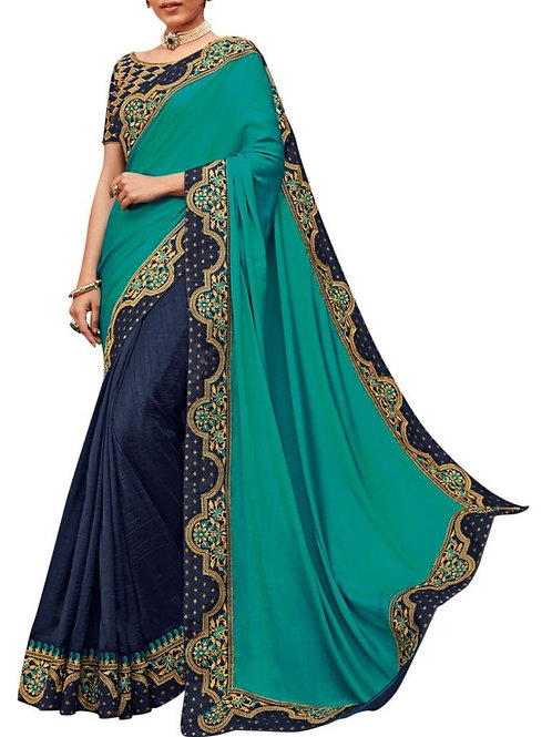 Overpowering Rama And Navy Blue Embroidery Saree
