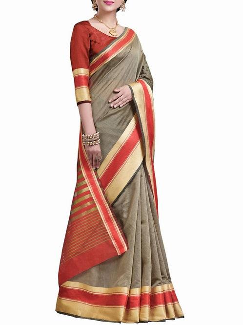 Elegant Grey Color Beautiful Sarees Online Shopping