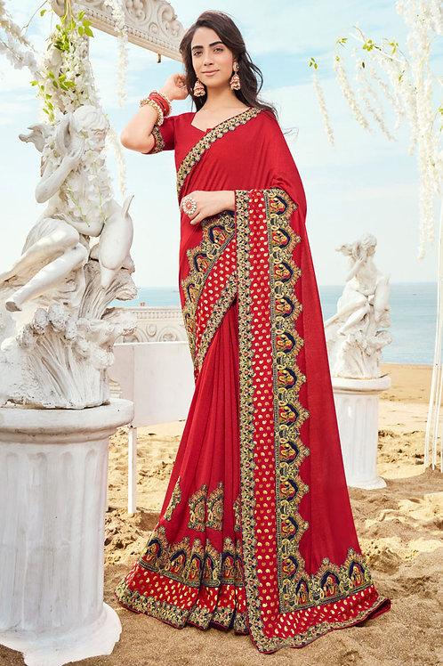 Festive Wear Red Color Silk Saree