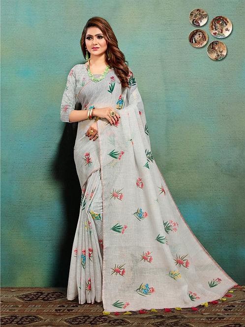 Grey Colored Banarasi Silk Saree With Matching Blouse.