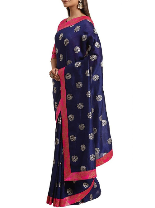 Pretty Navy Blue South Indian Saree