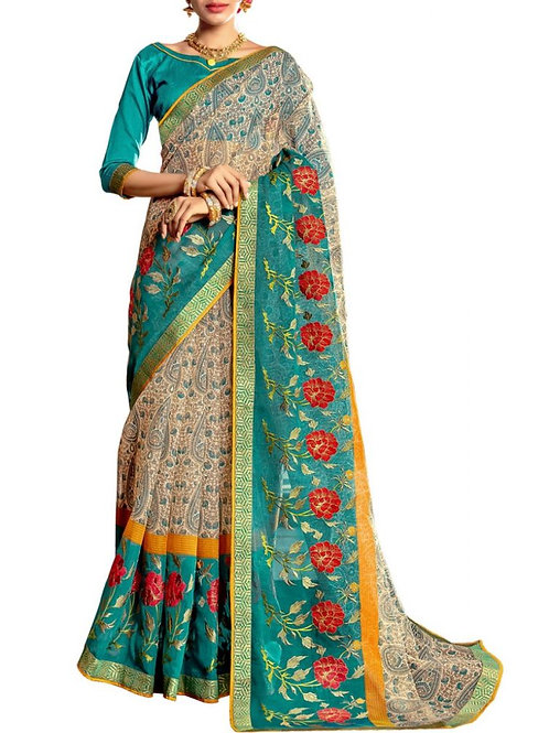 Glorious Off White And Turquoise Color Saree Design