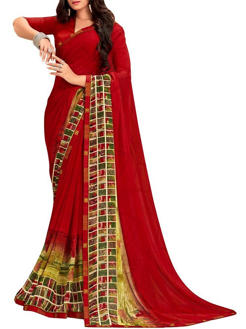 Fabulous Red Routine Wear Sarees