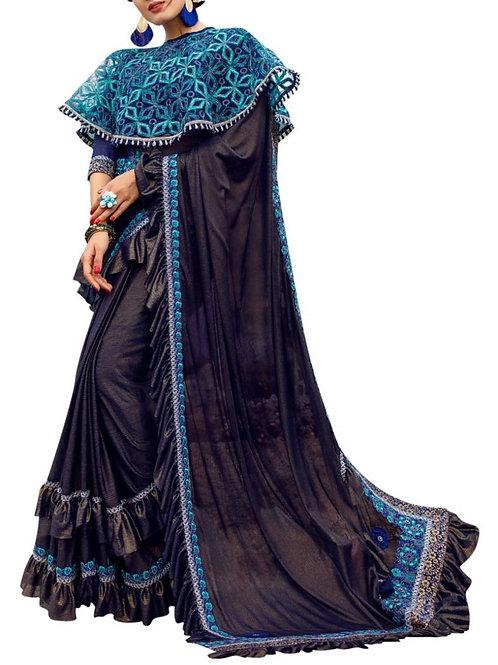 Inviting Navy Blue Color Exclusive Designer Sarees