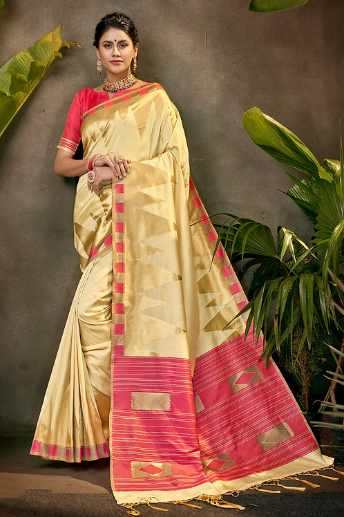 Good Looking Soft Silk Cream Colour Saree