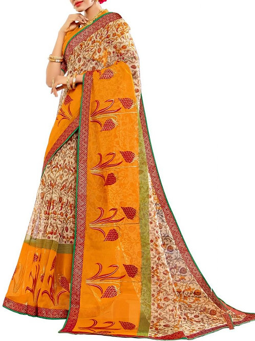 Out Of This World Cream And Yellow Color Womens Saree Online Shopping
