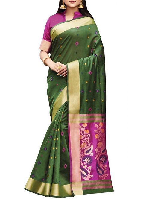 Overpowering Olive Color Online Saree Shopping